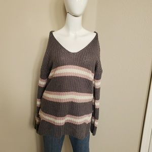 Pink Rose Gray Knit/ Crochet Sweater